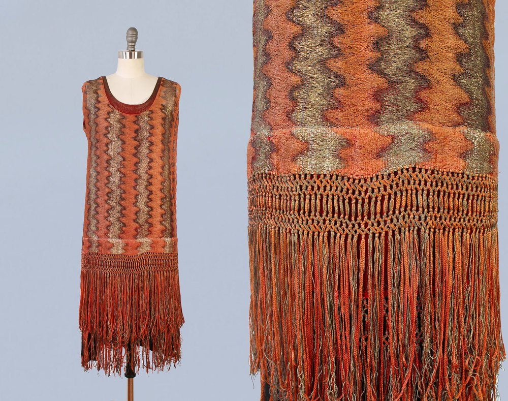 Orange and gold metallic dress with fringe. 1920s.