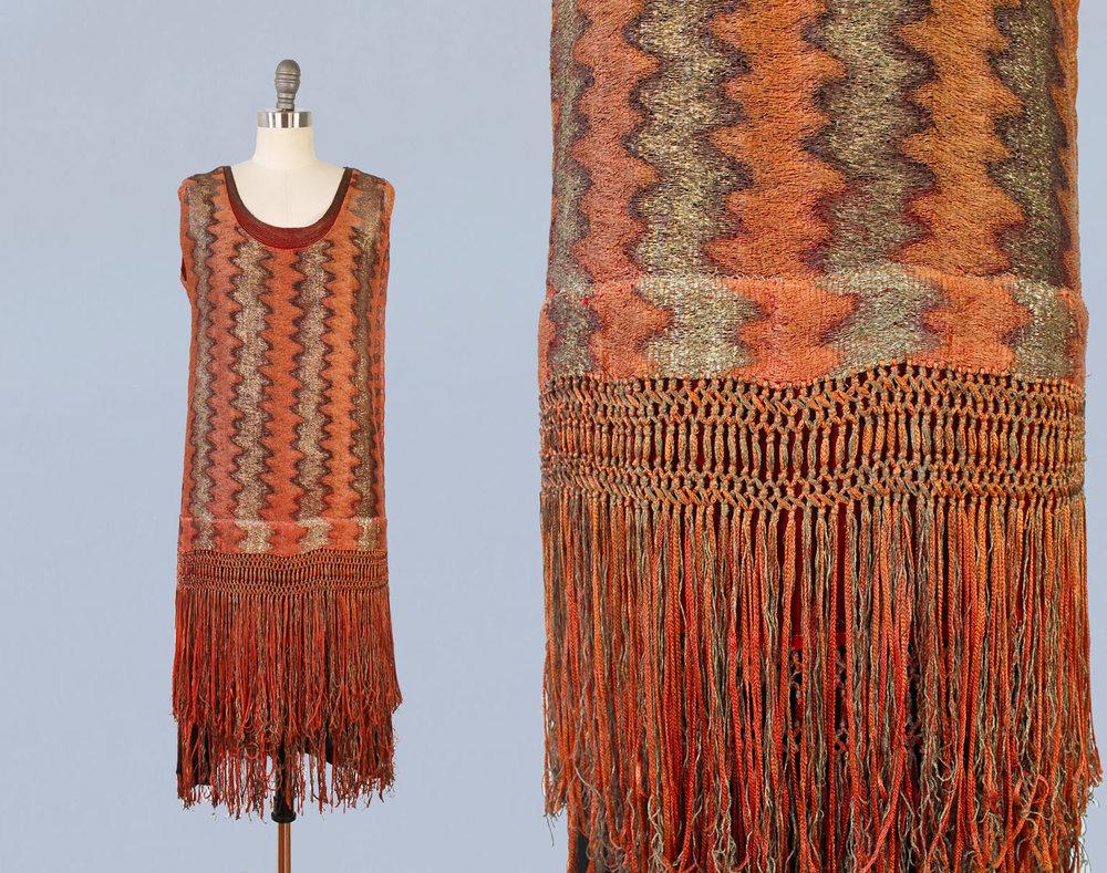 Orange and gold metallic dress with fringe. 1920s.