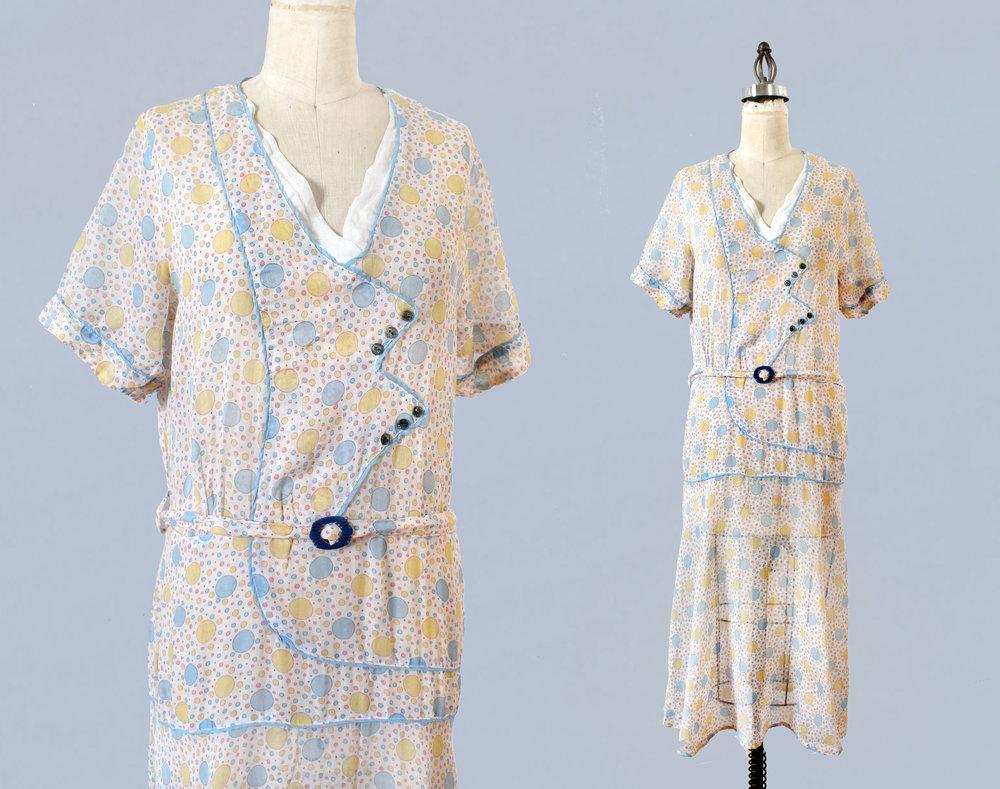 Printed cotton dress. 1920s.