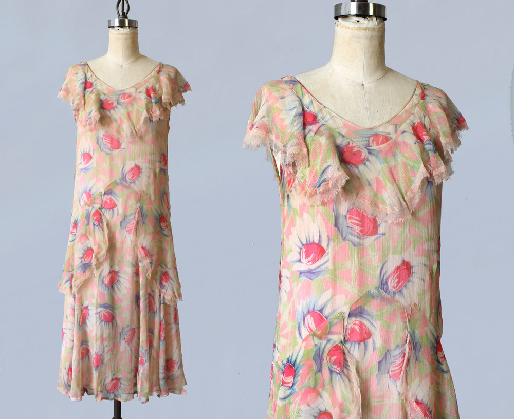 Printed silk dress. 1920s.