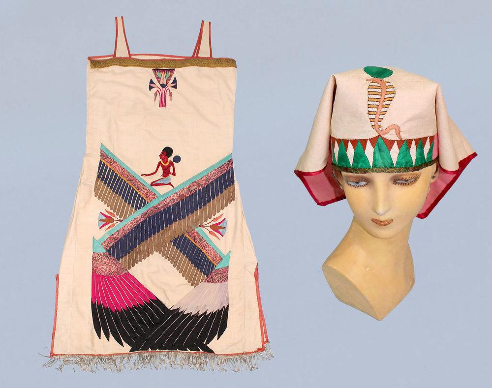 Raw silk Egyptian revival applique dress and headscarf. 1920s.