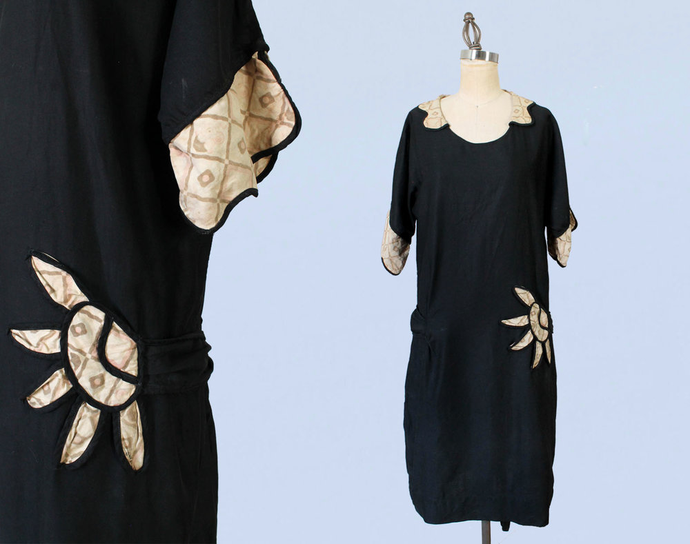 Black cotton dress. 1920s.