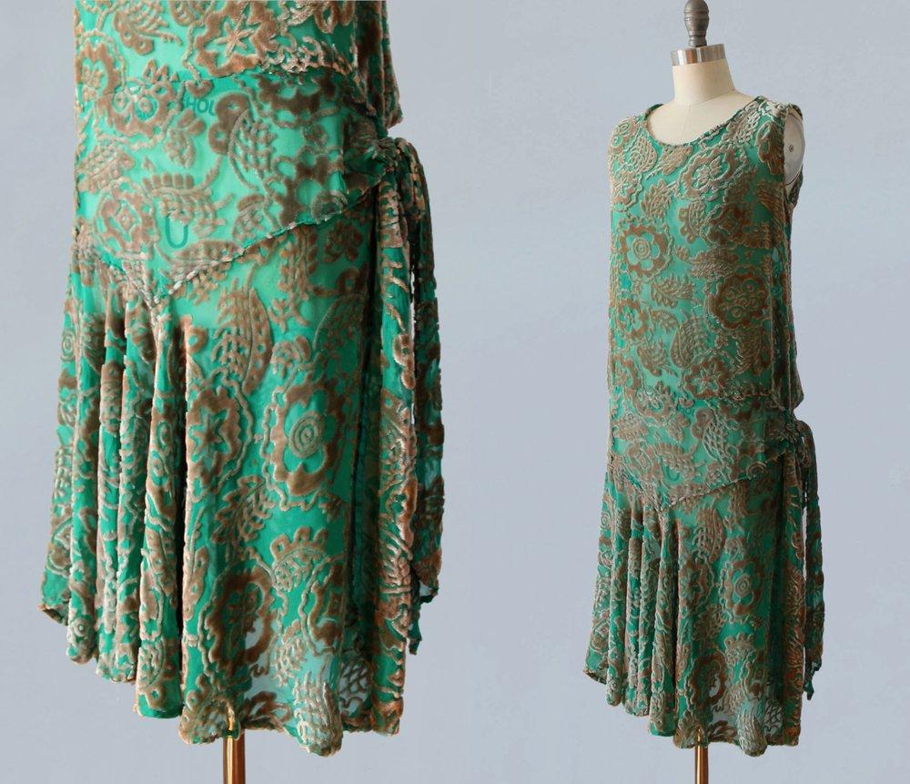 Green devore velvet dress. 1920s.