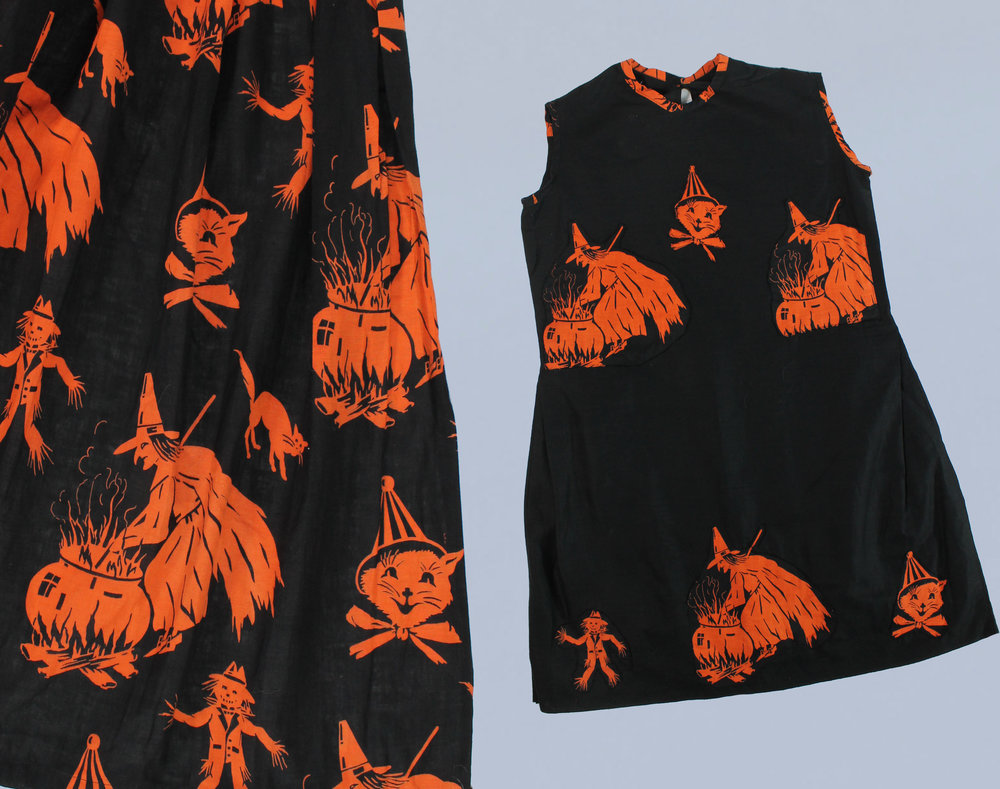 Halloween dress and matching printed cape, 1920s