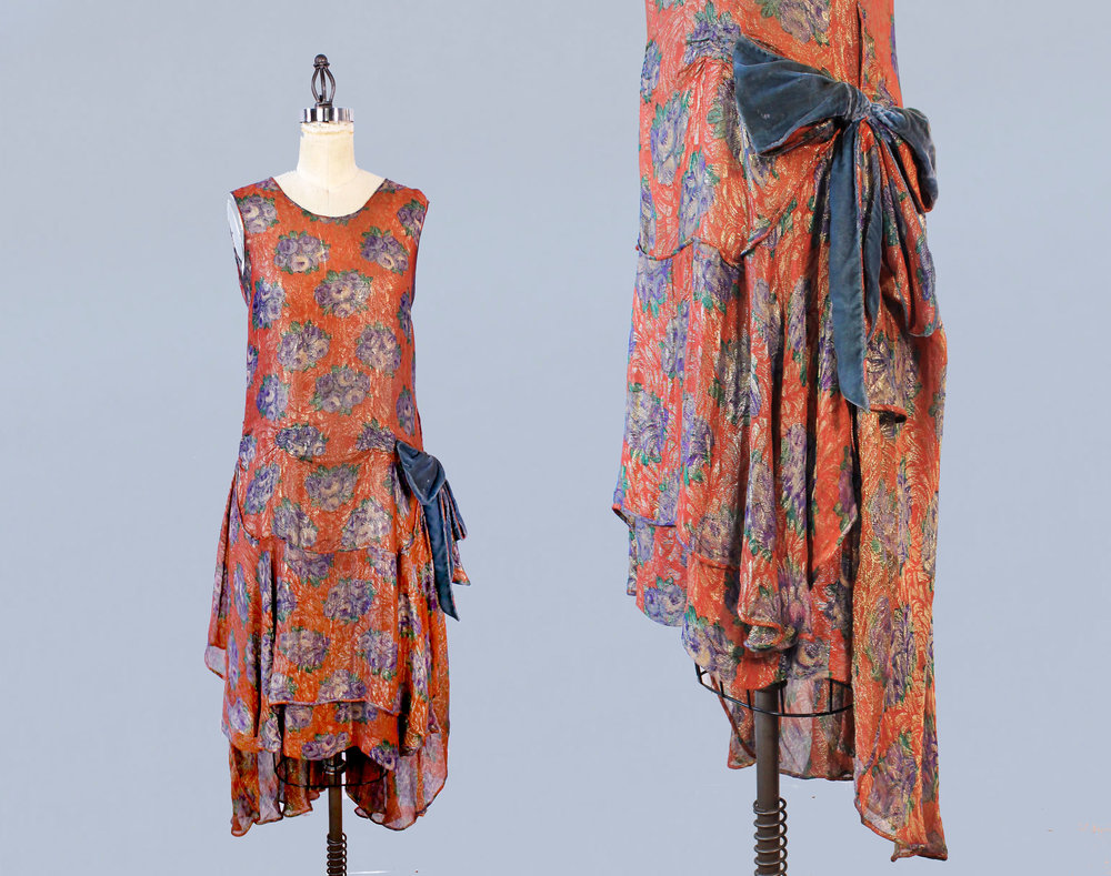 Red floral lamé metallic dress, 1920s