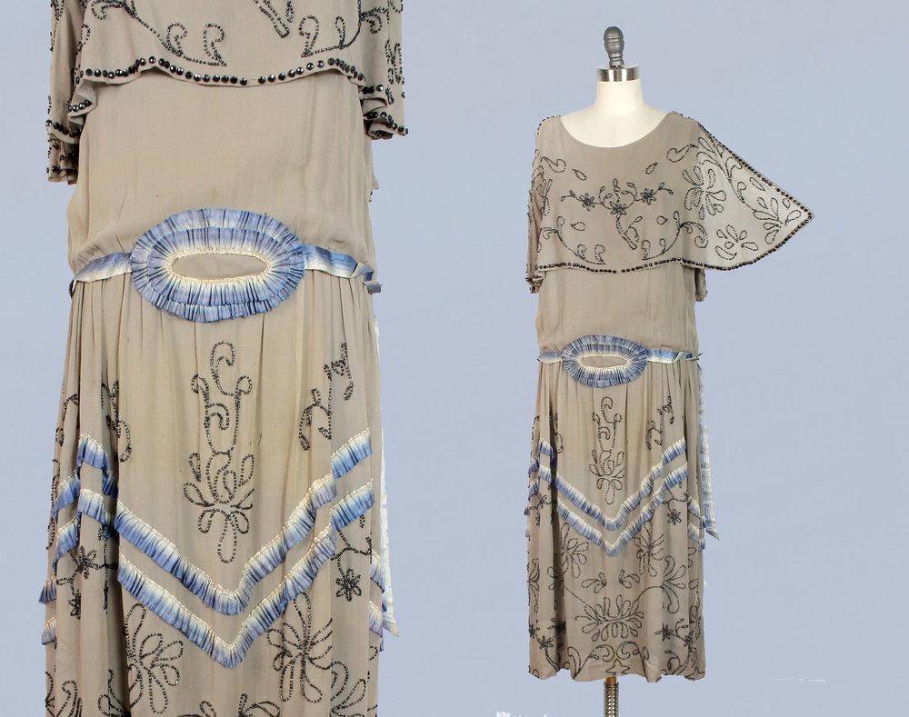 Dove gray dress with beading, 1920s