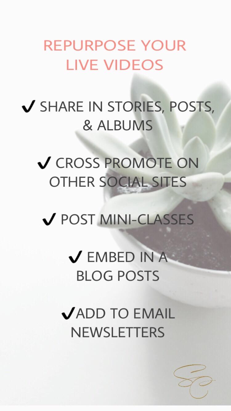 Five Ways To Repurpose Instagram Lives by Shelly Carpenter of Shelly C Studio Hinesville GA Savannah Georgia Graphic Designer Content Creator Photographer Website Developer