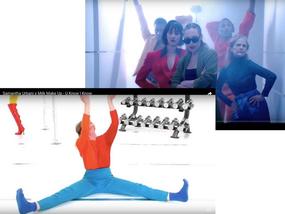 """Marnie Thomas posing and performing the deep stretches exercice in a music video """"U Know I Know,� by Samantha Urbani"""