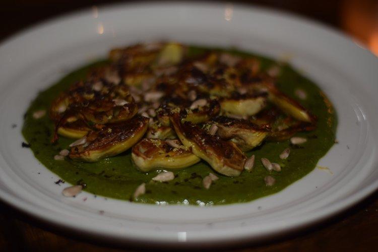 Baby Artichokes: sunflower seed pesto, dried kalamata olive, lemon