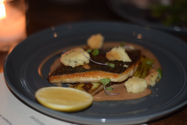 Striped Bass: fennel, farro, beets, onion