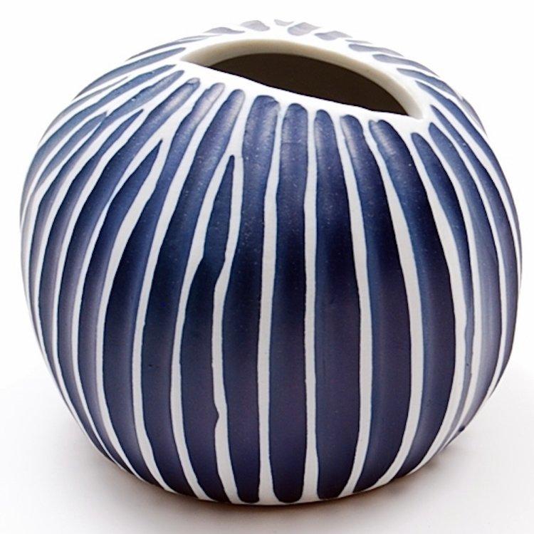 Pebble Blue And White Stripe Ceramic Bud Vase Stilo