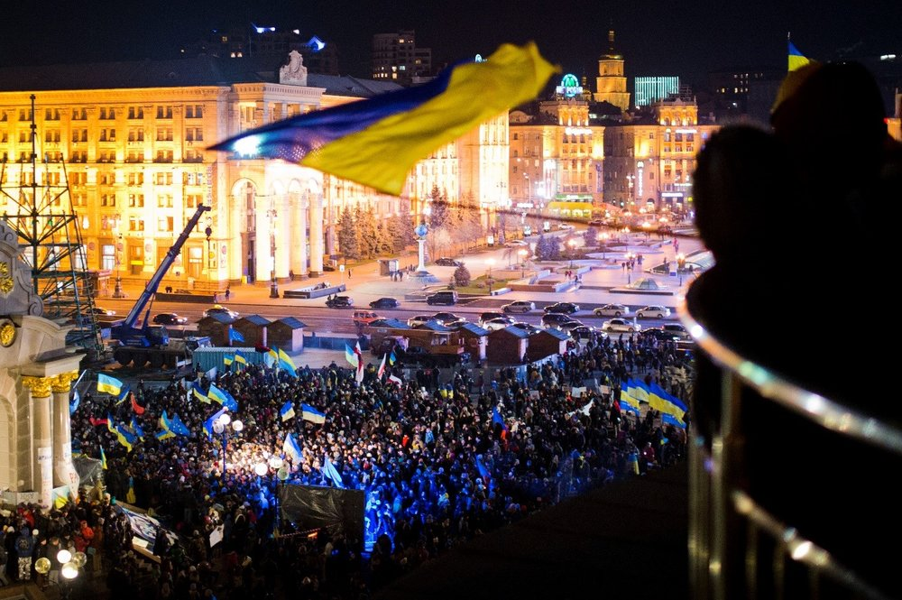 Overlooking Maidan (Independence) Square in Kiev, Ukraine.