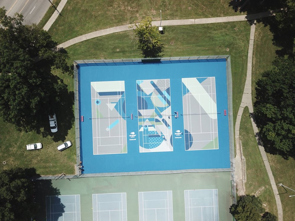 "Image credit: USTA Artists: XYLENE Location: ""The Triangle"" Tennis Courts:  Losantiville Recreation Park,   Cincinnati ,  OH."