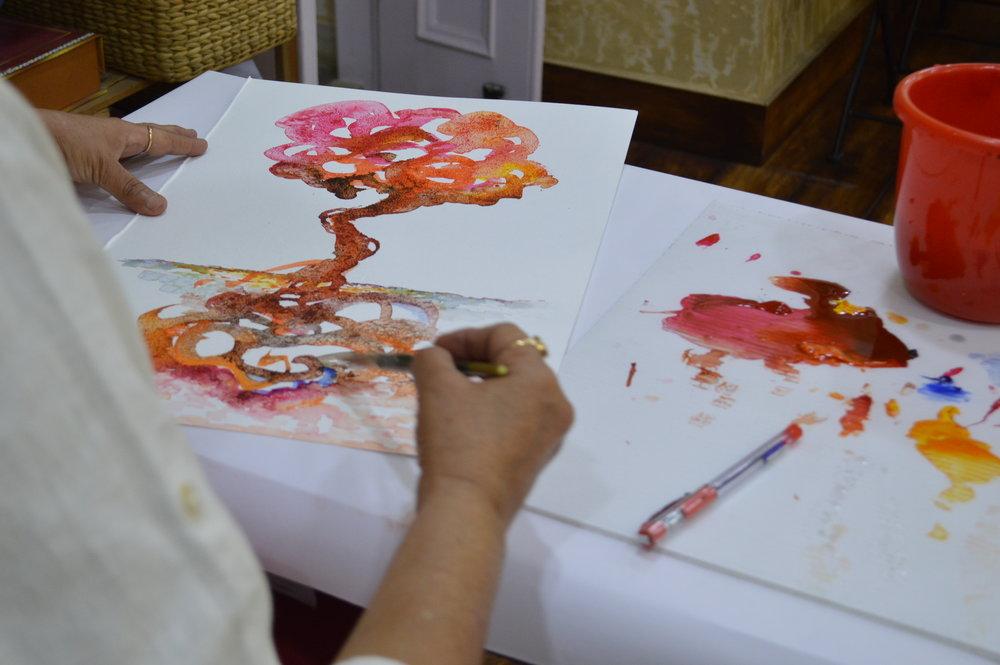A detail of work -in- process by Kavita Nayar.