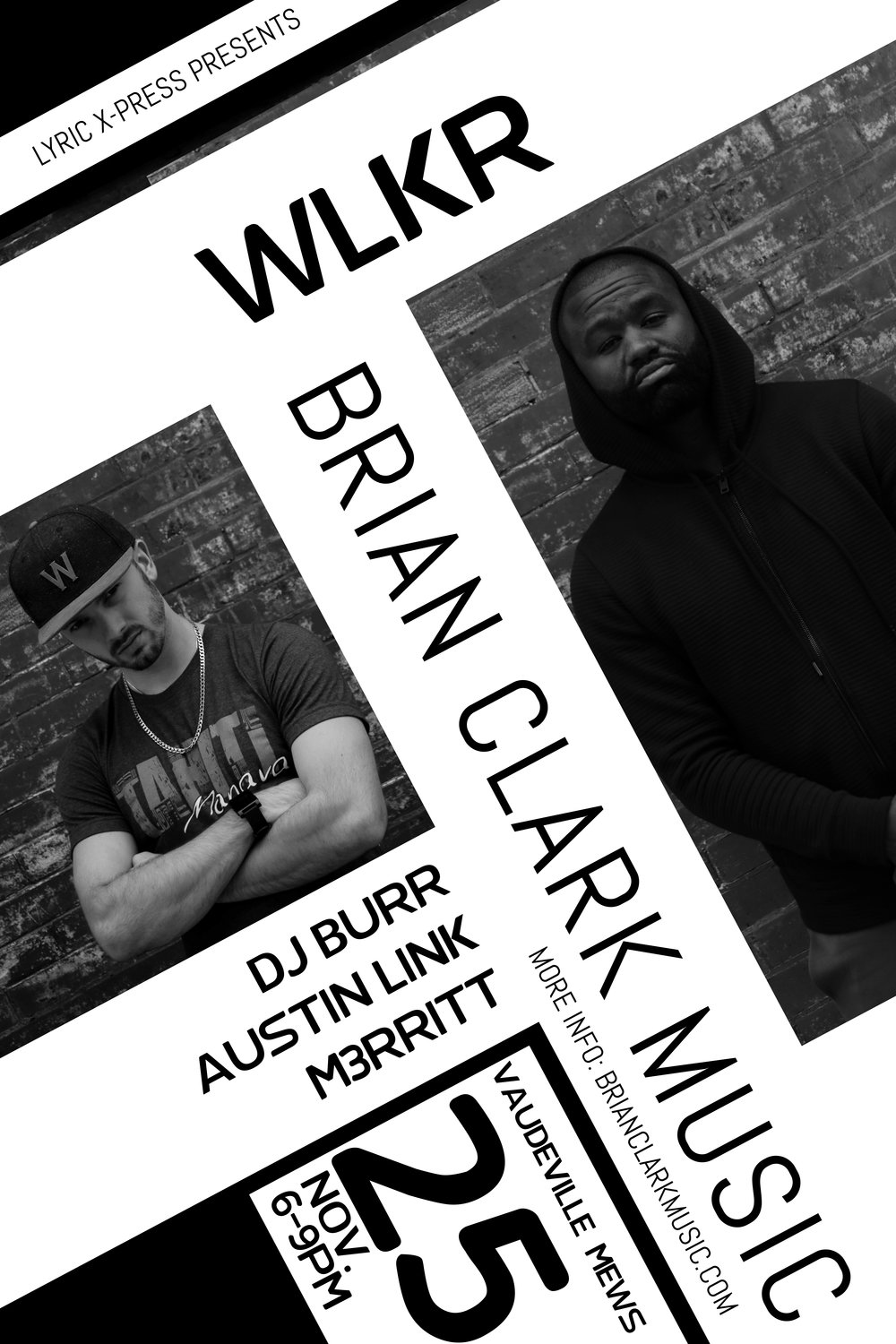 Wlkr brian clark music brian clark music copy of black and white concert poster flyer template two photos 3g maxwellsz