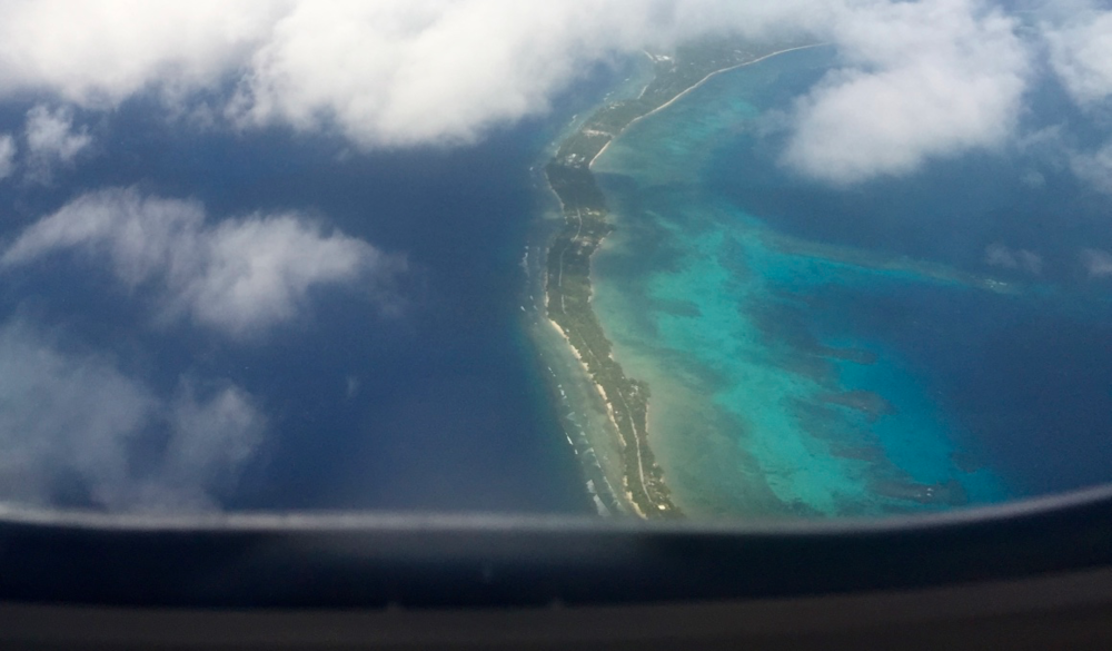 View of the tiny strip of land that is Majuro atoll from airplane, Republic of the Marshall Islands.  Author's photo.