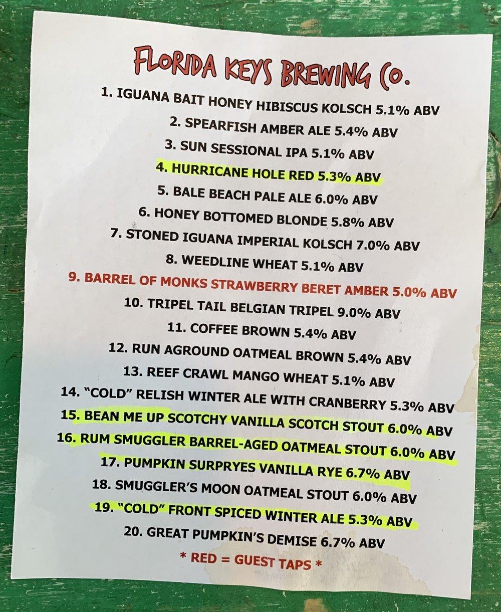 FL Keys Brewing Tap List Aimee's Choices.jpg