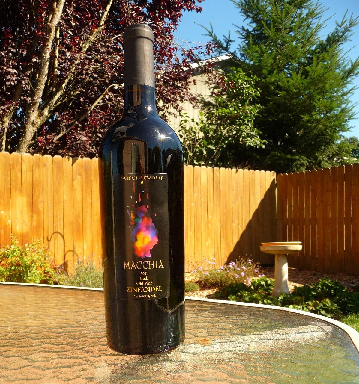 The fruit-forward tasting notes of this 2011 Macchia Mischievous Zinfandel pairs nicely with burgers, steaks and ribs.