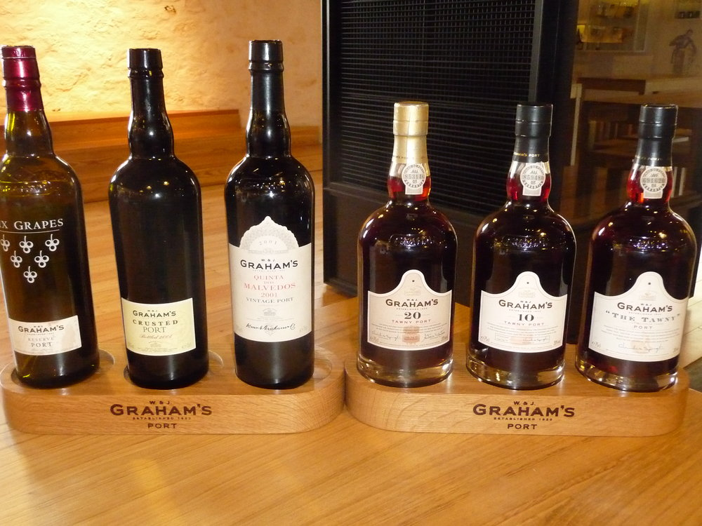 Six sample port tasting at W & J Graham's in Villa Nova de Gaia
