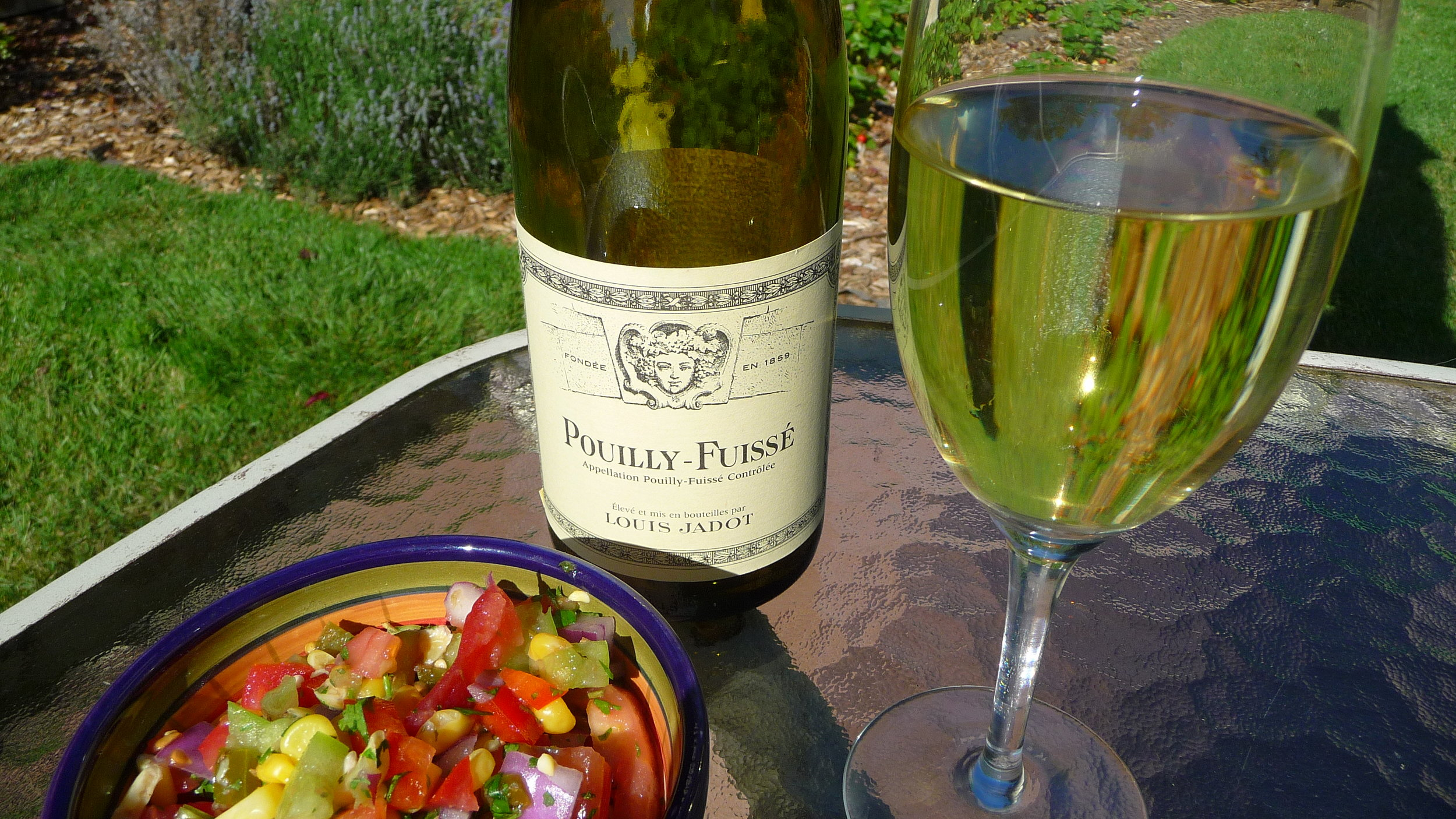 2012 Louis Jadot Pouilly-Fuissé (It's not this green; that's our lawn showing through)