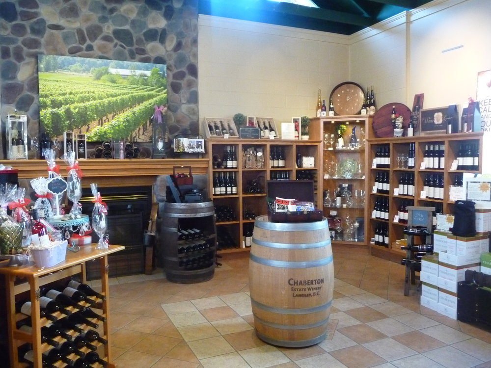 The tasting room of Chaberton Estate Winery-the oldest and largest winery in the Fraser Valley, BC