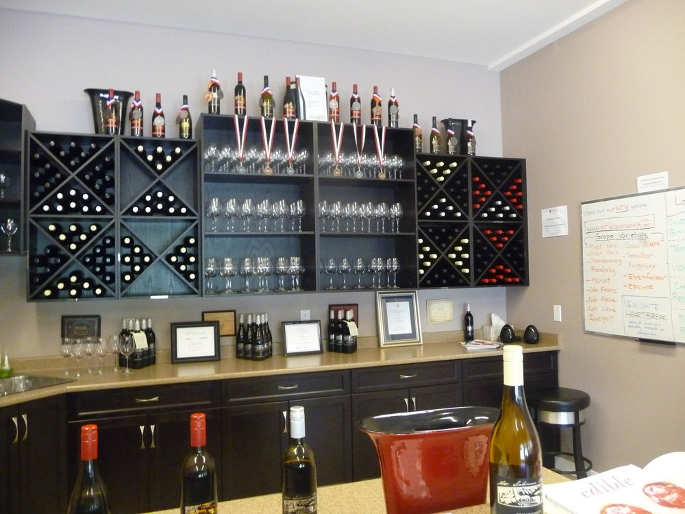 Mt. Lehman Winery shows off its many medals in their inviting tasting room It is the highest-award winery in B.C.