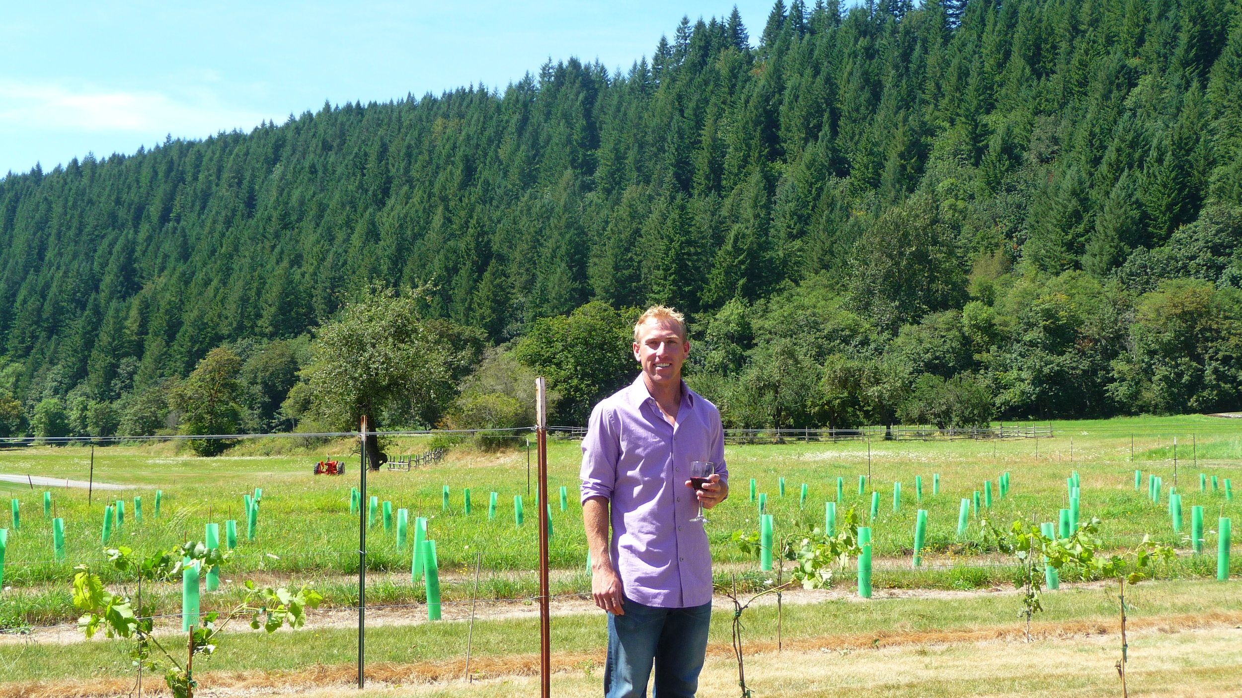 Pomeroy Cellars' winemaker, Daniel Brink, standing in front of a block of estate-growing Pinot Noir grapes