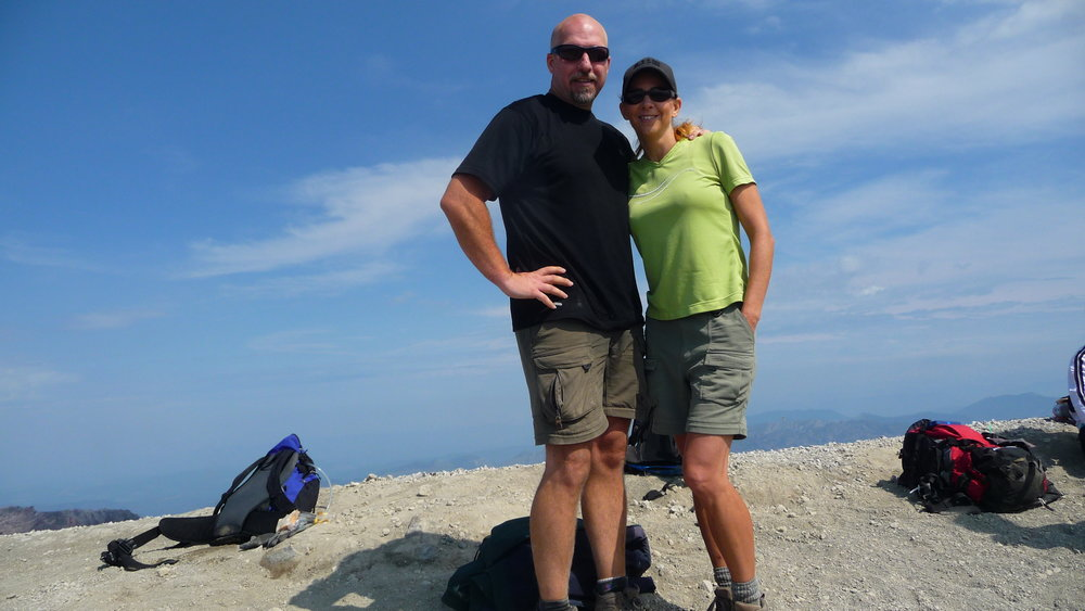 Dan & Viki at the summit of Mt St Helens. We both beat our time from seven years ago. Yay us!