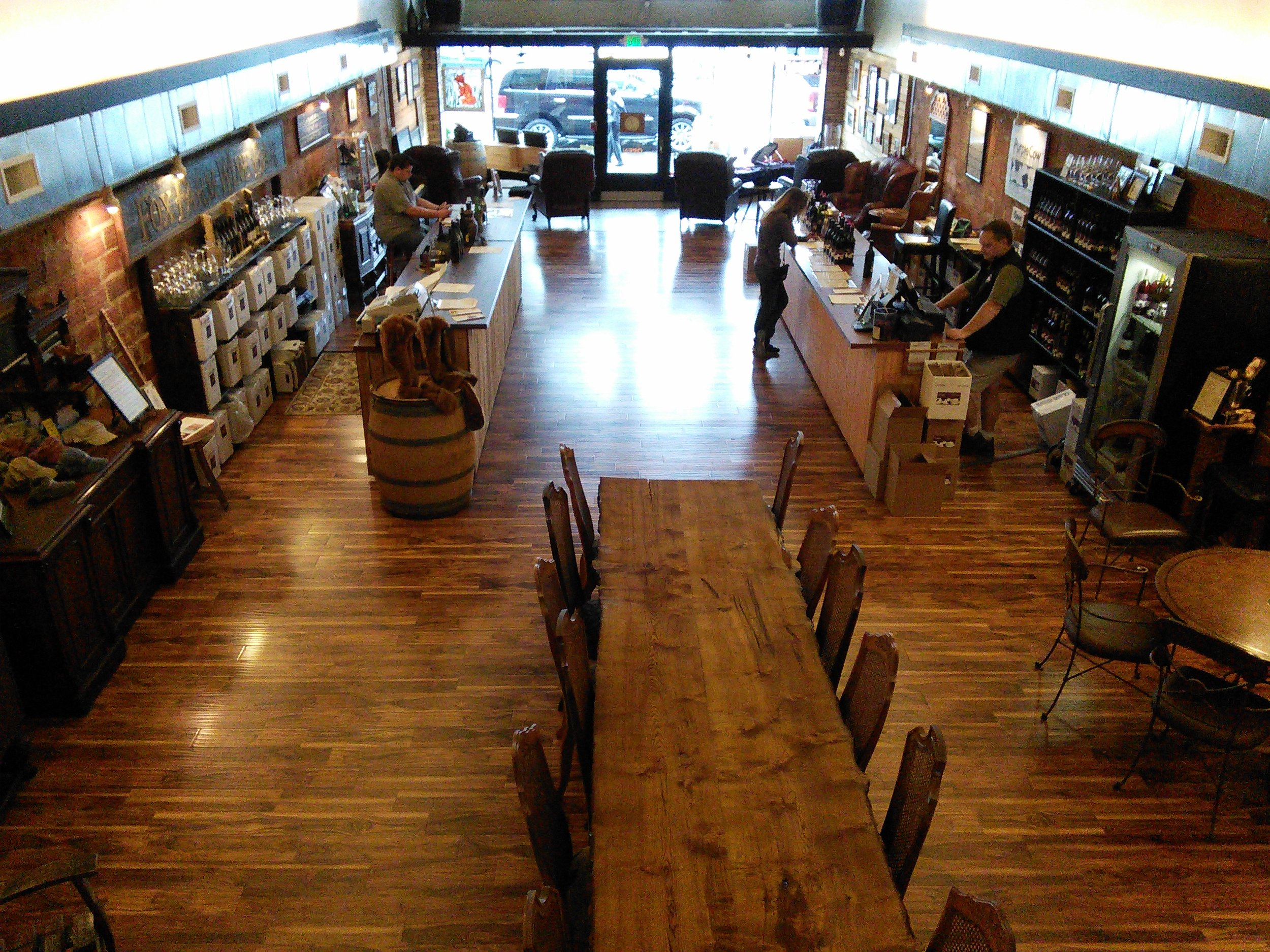 The dual tasting room of Fox Farm Vineyards and Purple Cow Vineyards in downtown Newberg, OR.