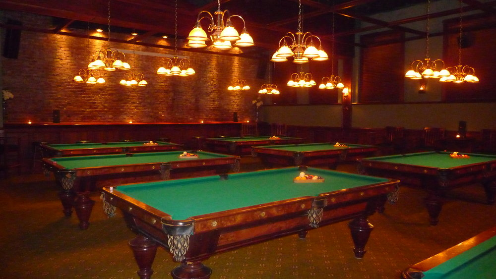 One of the two pool table parlors at Uptown Billiard Club in NW Portland