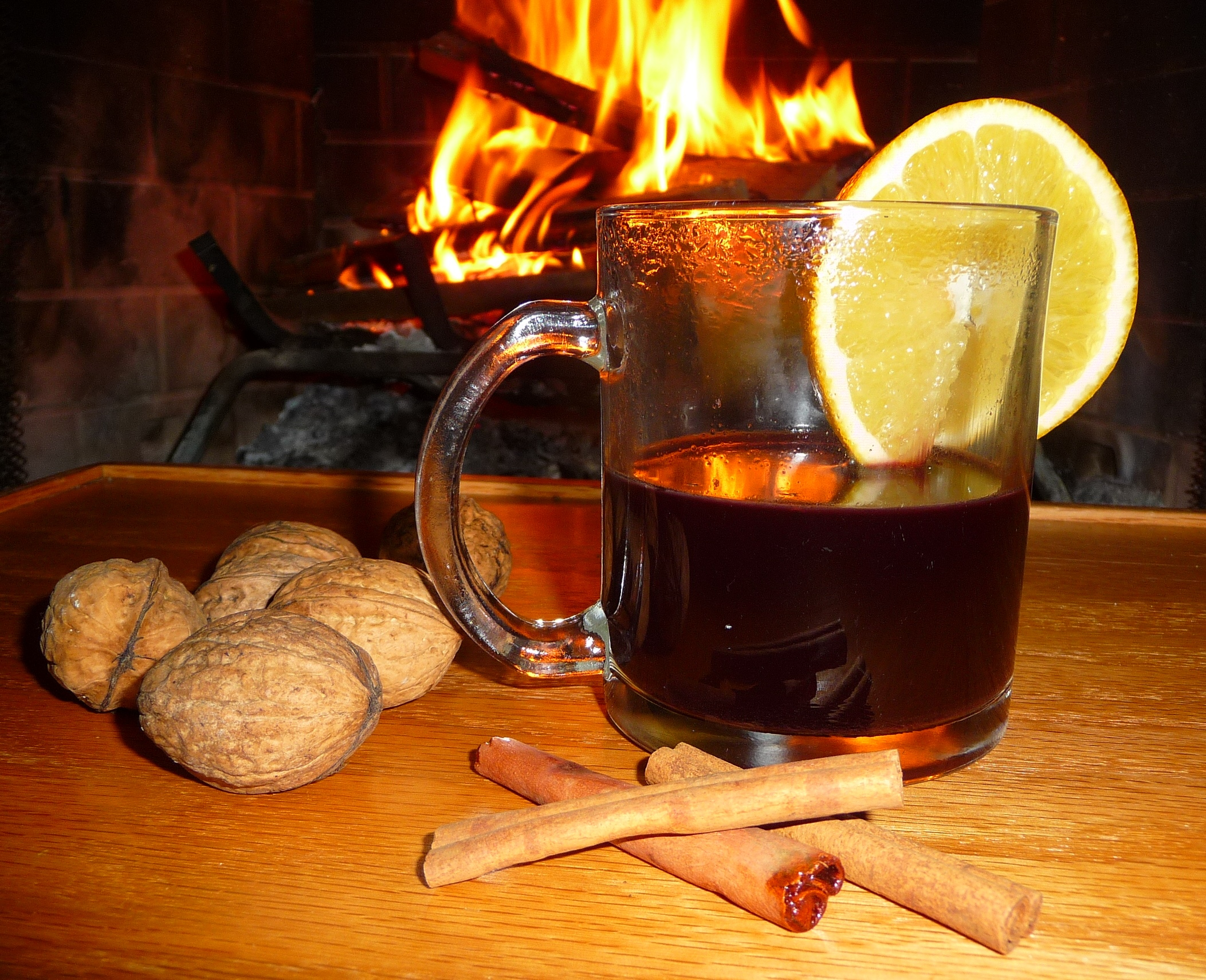 A mug of mulled wine and a crackling fire are the perfect combination to take the chill off a wet fall day.