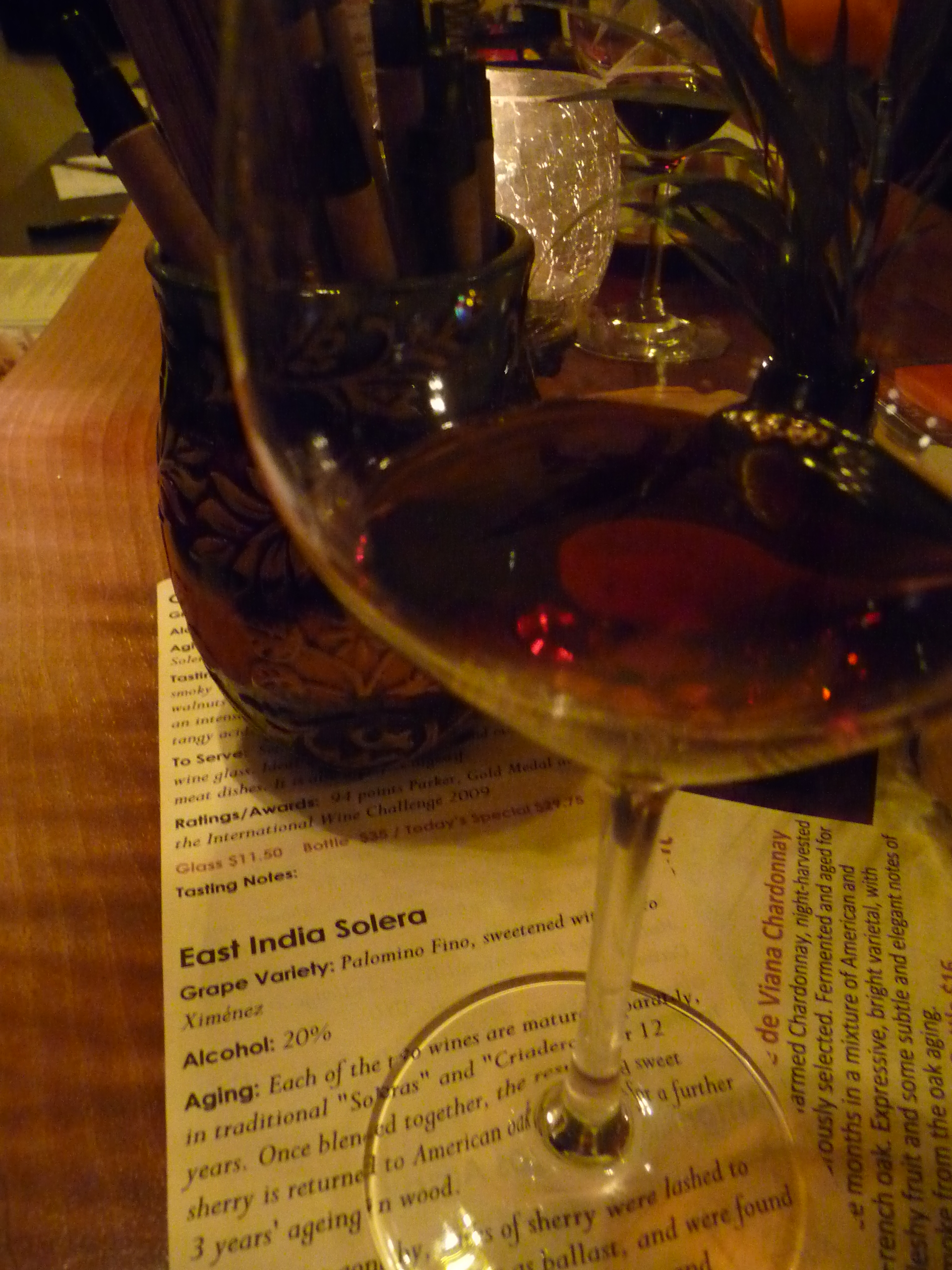 The darkest of the Sherries poured at Emanar's anniver-sherry, this East India Solera was aged a total of 15 years and is deceptively sippable