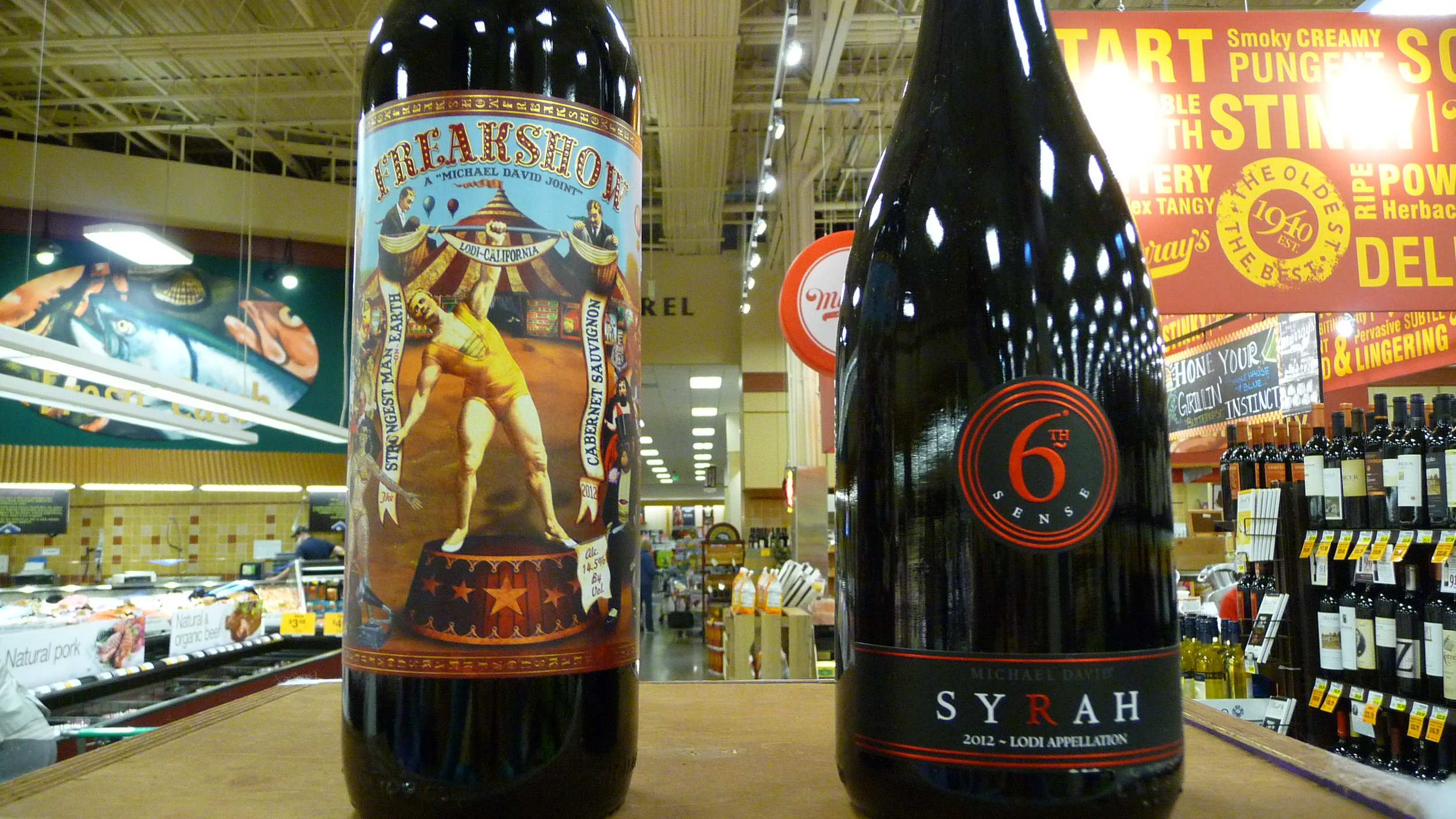 A couple of Michael David Winery's Halloween-worthy wines -Freakshow and 6th Sense Syrah