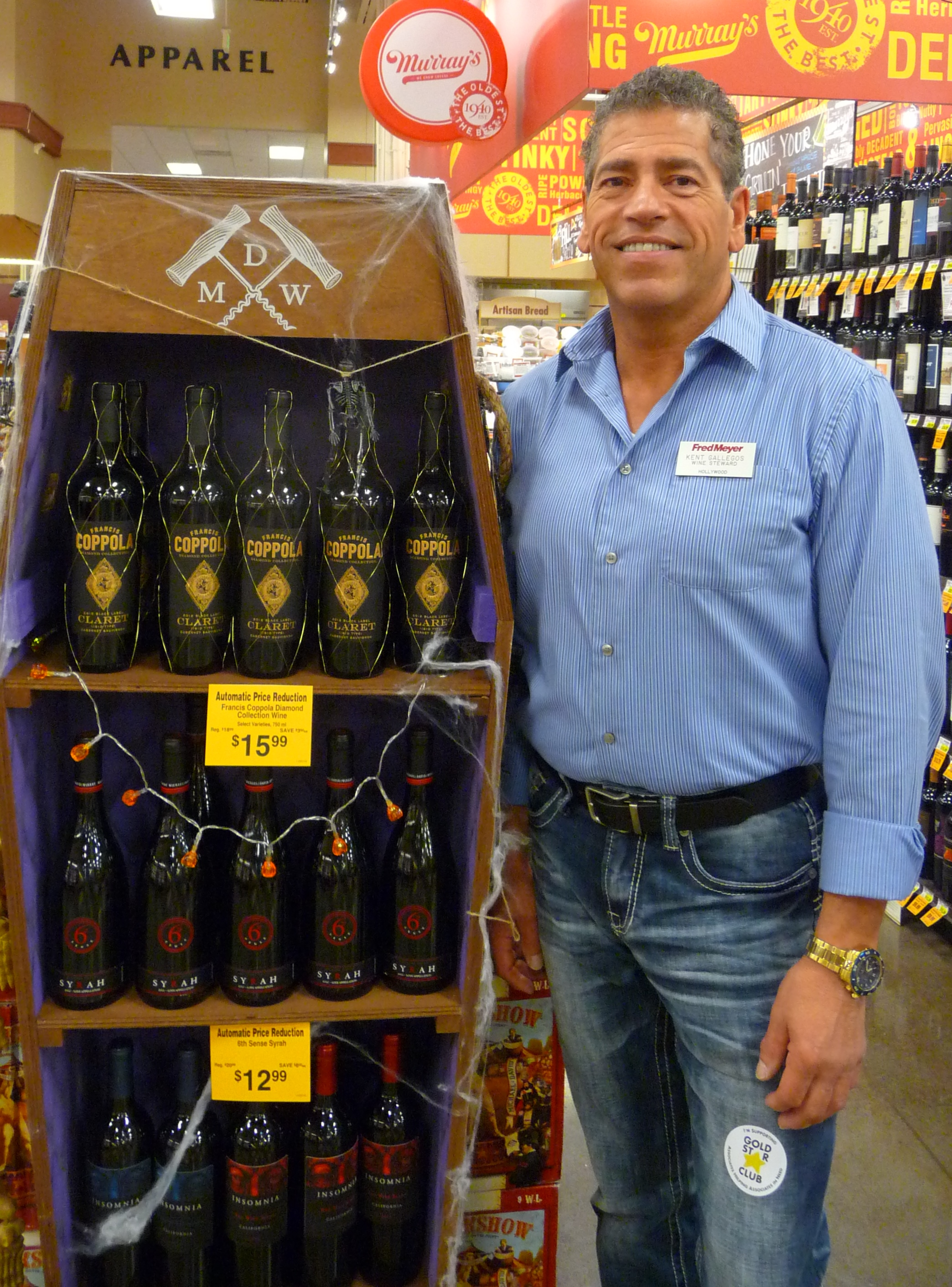 Kent Gallegos, wine steward at the Salmon Creek Fred Meyer, offered a bag full of wine treats to elevate upcoming Halloween parties from dawn of the dead to spooktacular.