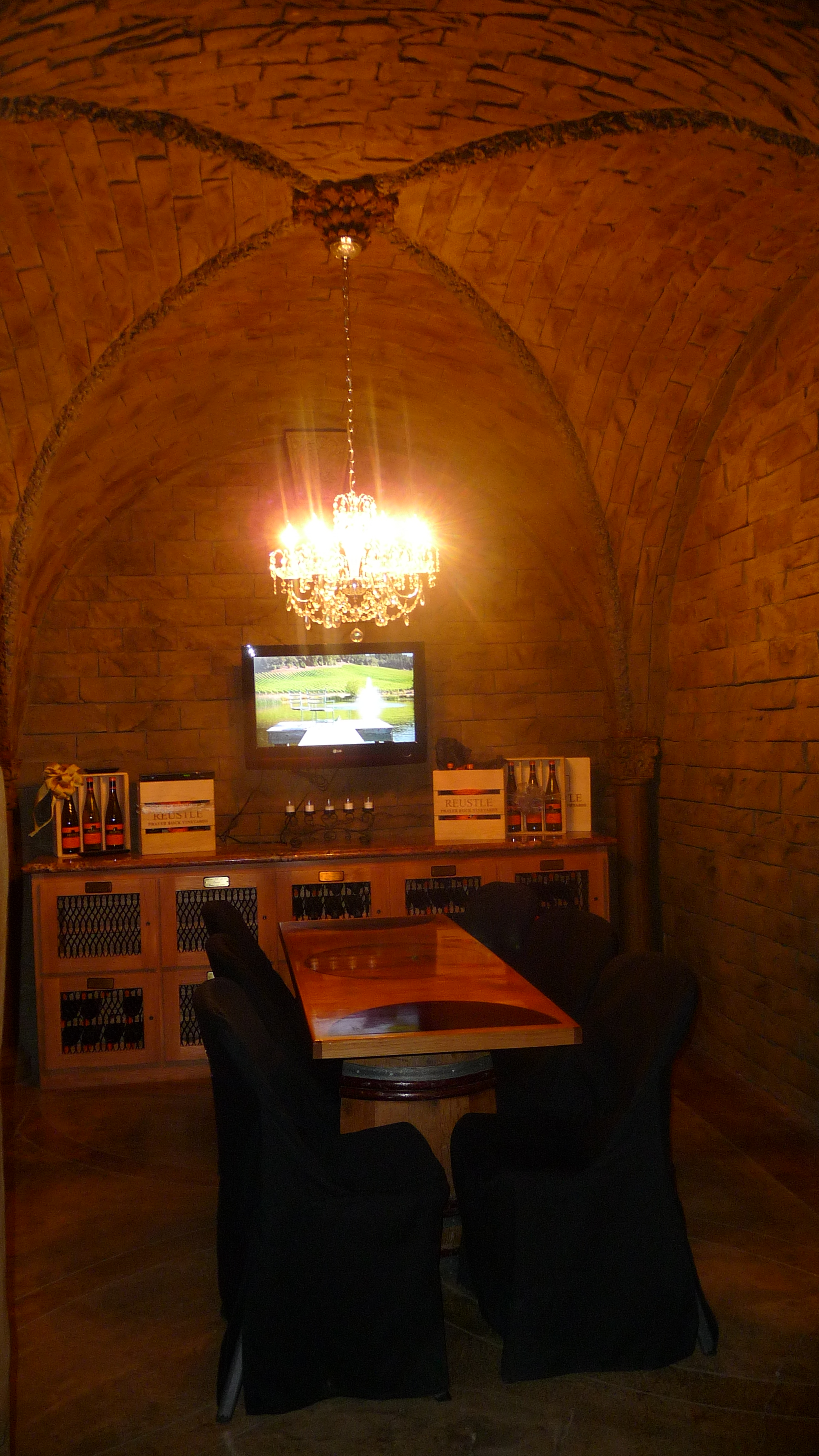 Our well-appointed, private tasting room in the cave of Reustle Prayer Rock Vineyards in the Umpqua Valley