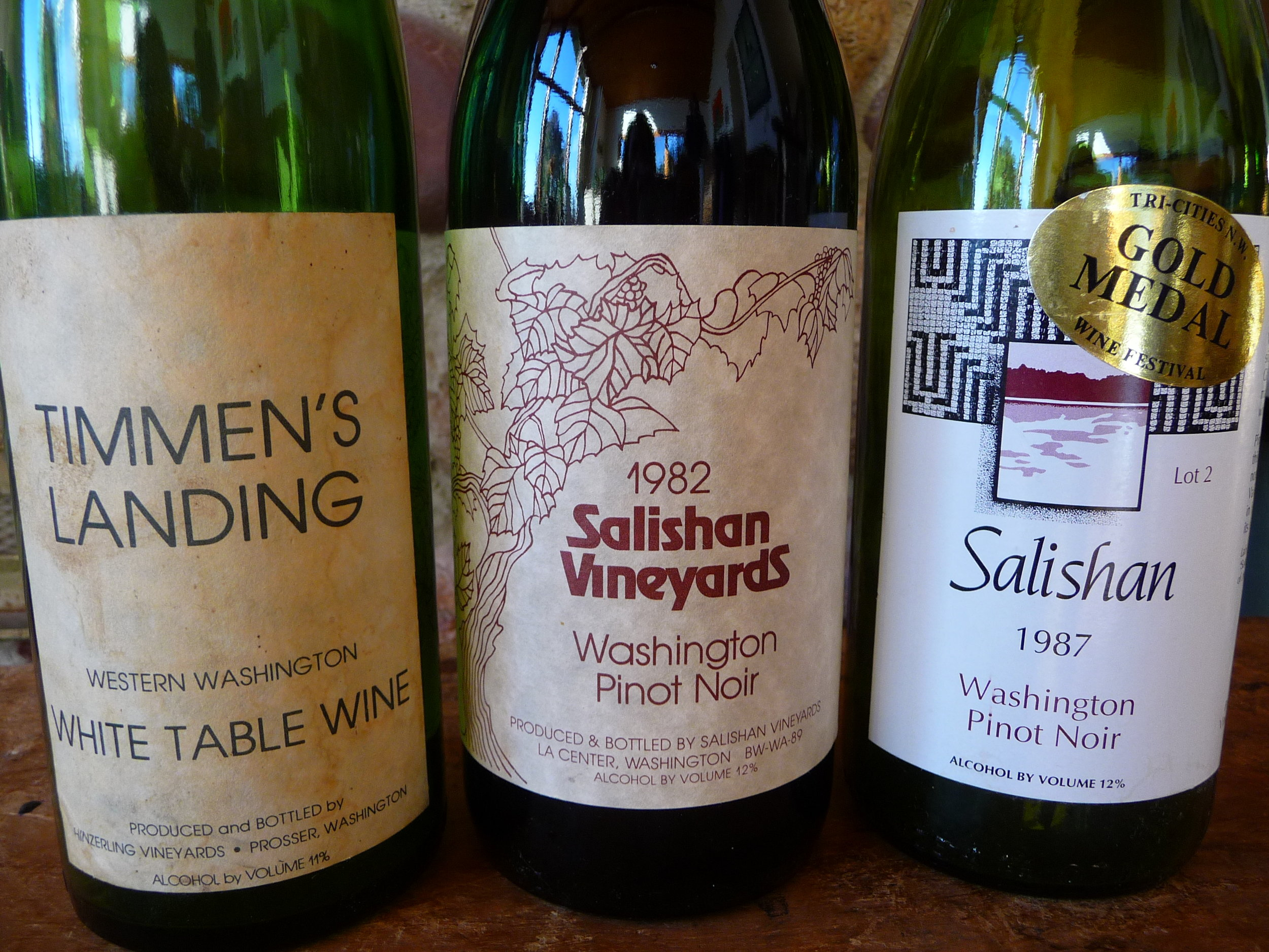 The evolution of Salishan Vineyards' wine labels (briefly Timmen's Landing) Salishan produced wine commercially in La Center from 1976-2006.