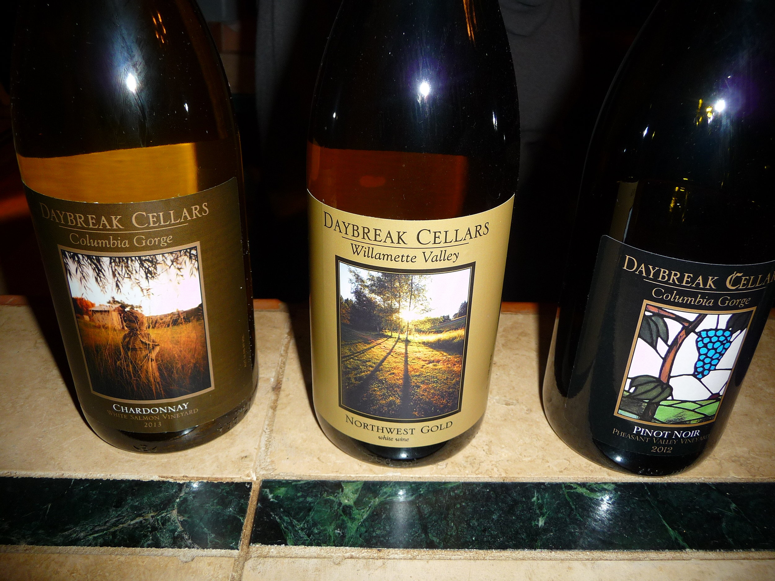 Daybreak Cellars' labels are from photos taken around their property including the stained glass one on the 2012 Pinot Noir