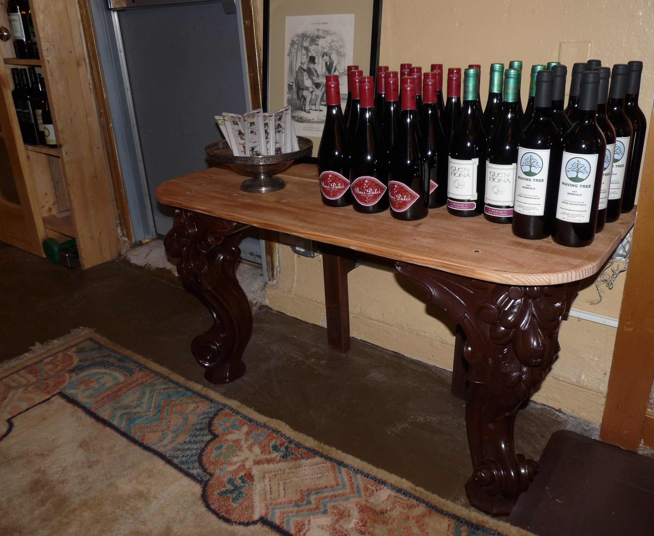 A skilled crafstwoman, Dana Dokken uses wood as her medium and recently up-cycled baroque-style piano legs into an accent table for Evergreen Wine Cellar