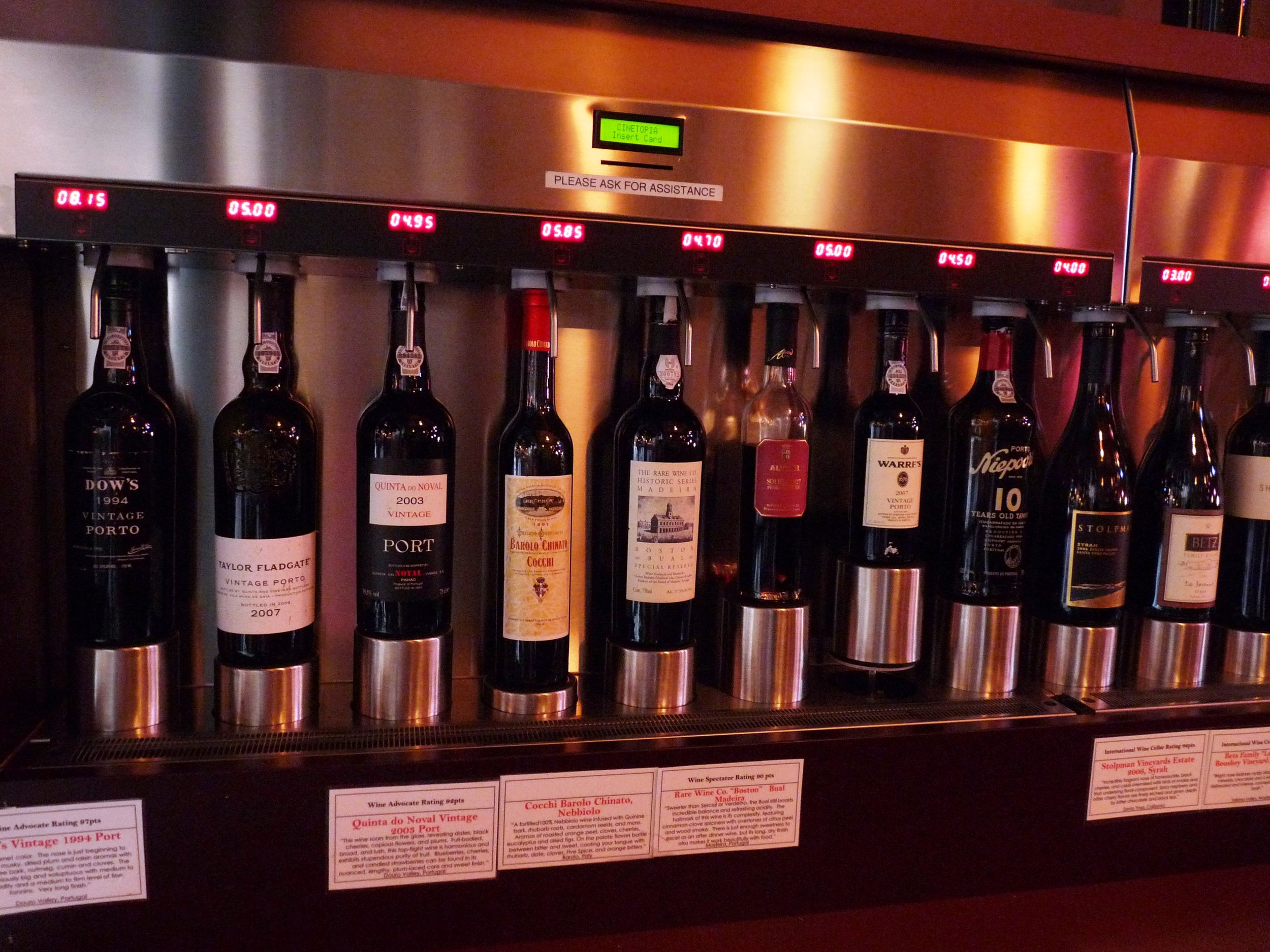 A selection of Ports and Madeira inside Vinotopia's Cellar Room.