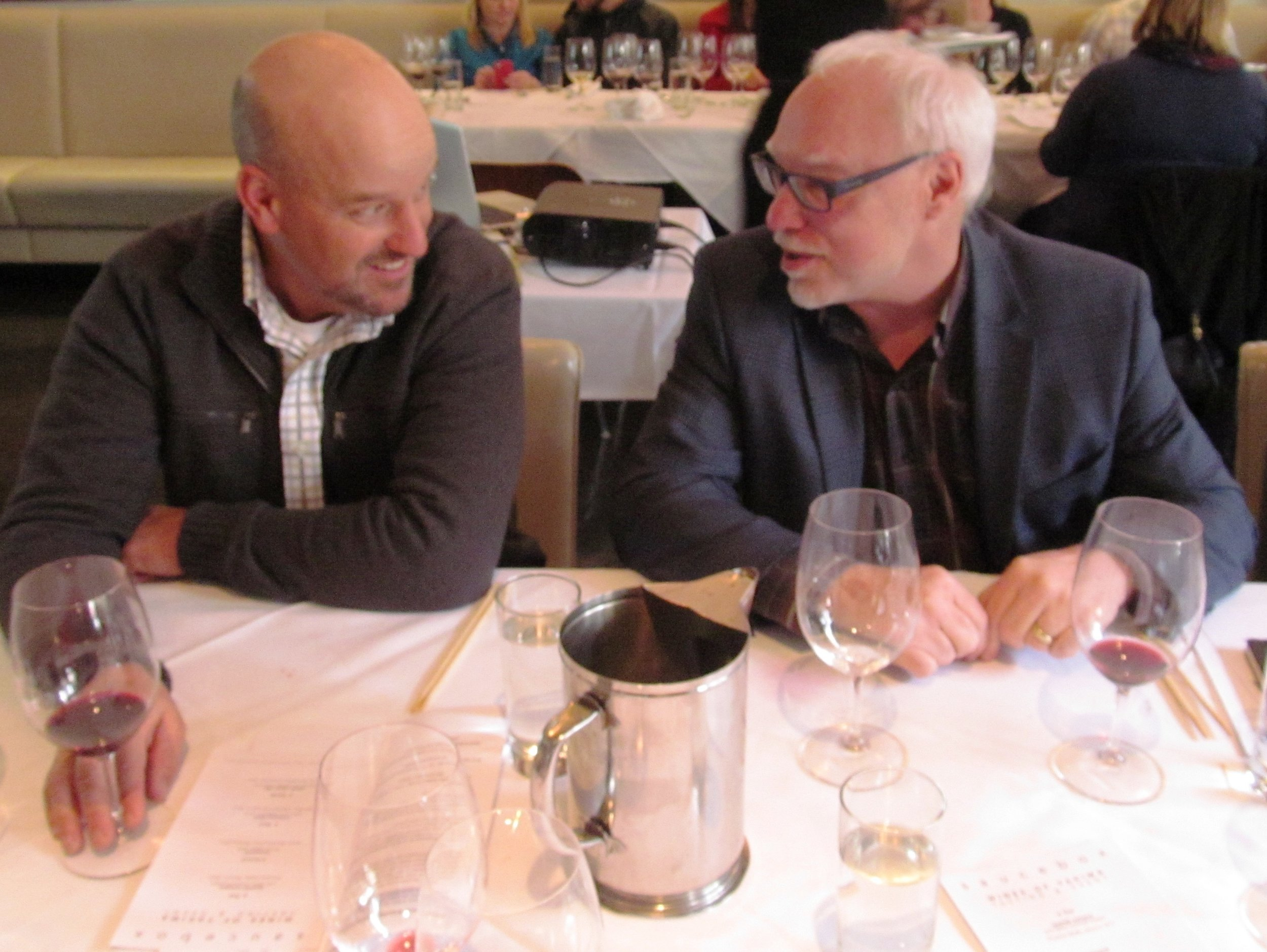 John Sauer, co-owner of Red Willow Vineyard, chatting with Pacific Northwest wine writer, Cole Danehower. Courtesy of Wine Yakima Valley.