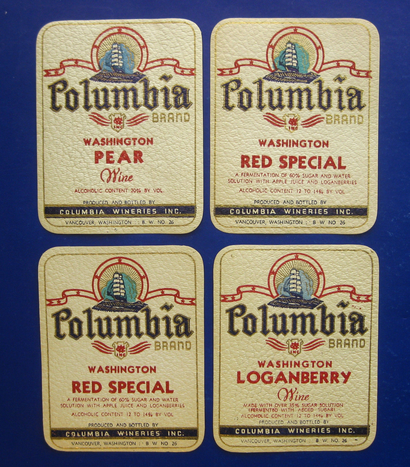 Original, unused labels from Columbia Wineries, Inc.— producing fruit wines in Vancouver from 1935-1968. Photo taken from Chalk Hill Treasures e-Bay store.