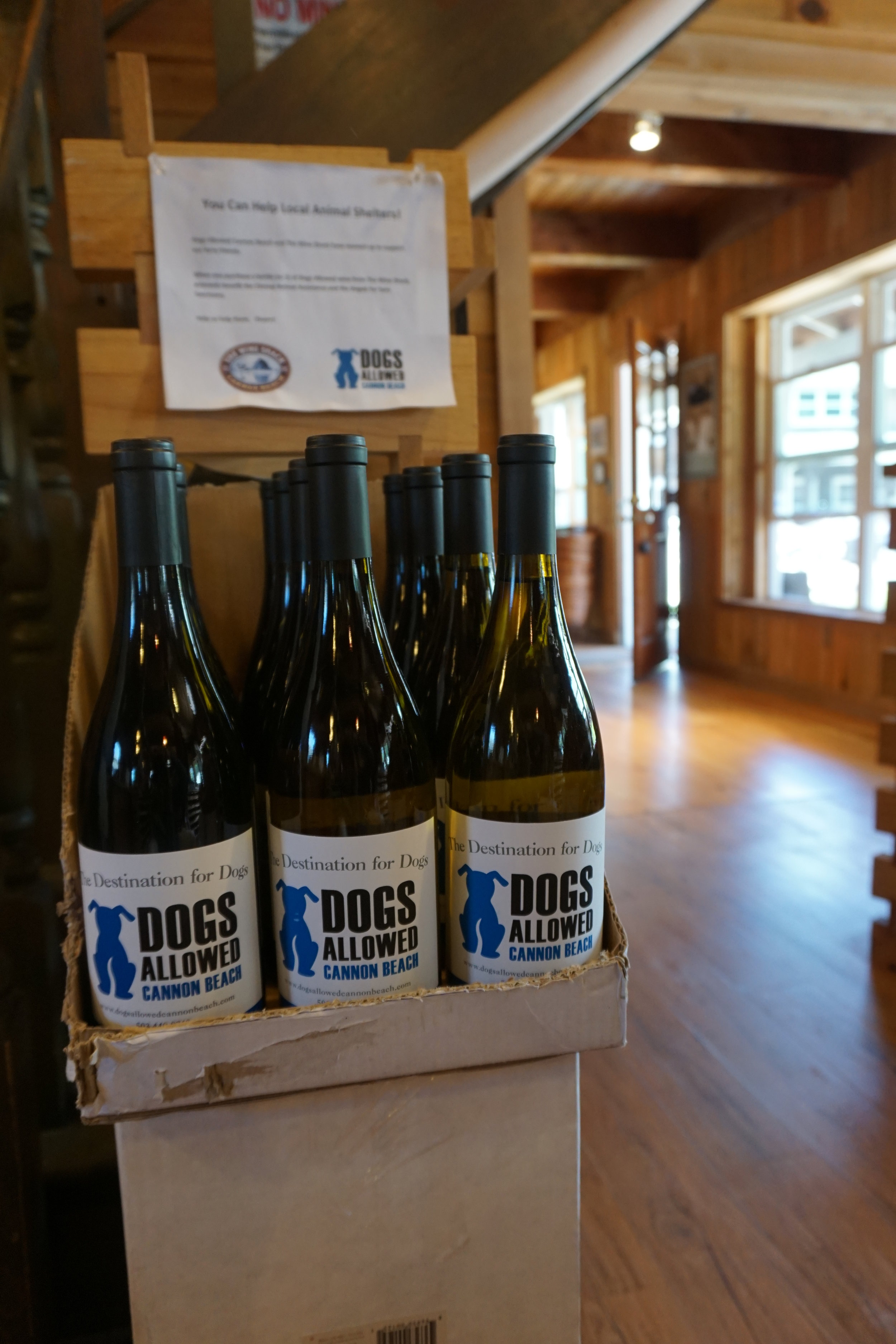 The Sinklers support the efforts of their friends, Doug and Emmas—owners of Dogs Allowed Cannon Beach—by carrying the Dogs Allowed wine label. 100 percent of the proceeds for every bottle goes to support local animal rescue efforts. Viki Eierdam