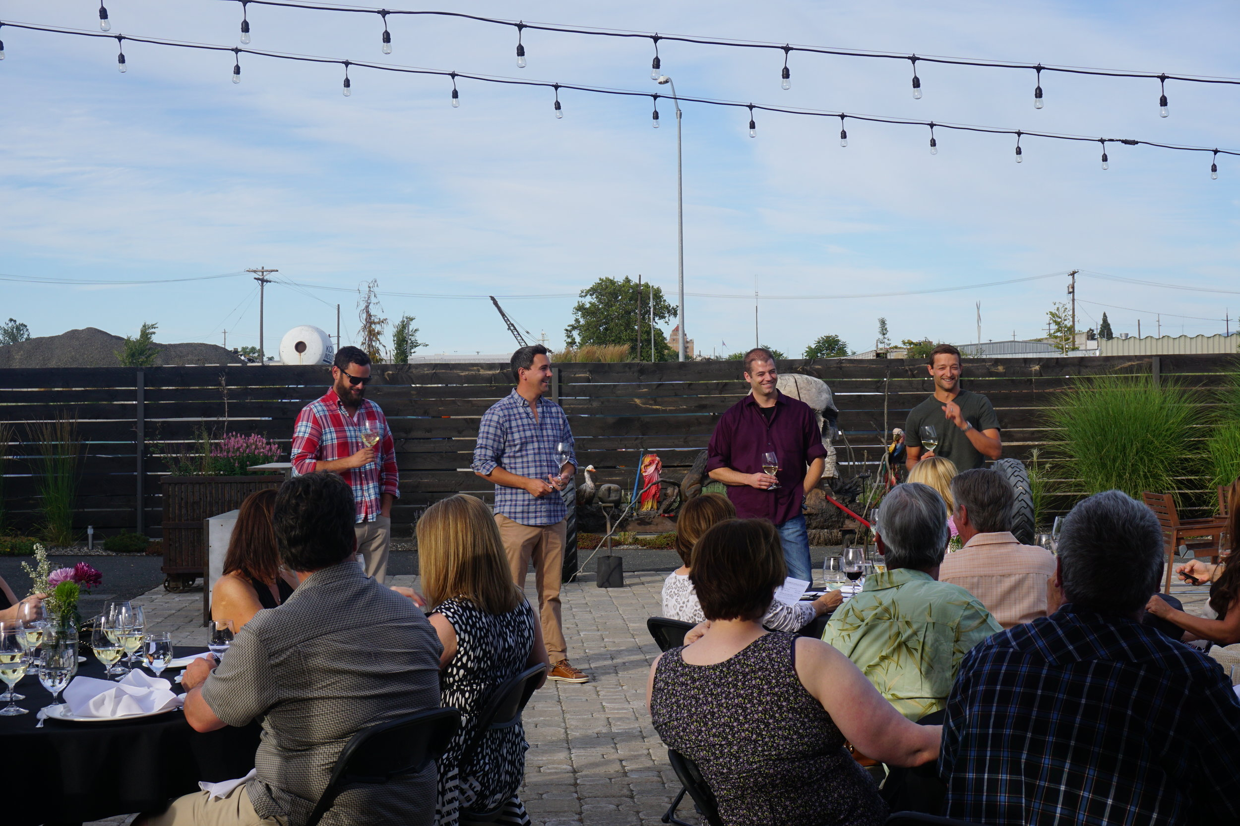 Winemakers Greg Matiko, Justin Basel, Cameron Kontos and Josh McDaniels played off each other jovially at the introduction of each course during June's Young Guns Wine Dinner in Walla Walla. Viki Eierdam
