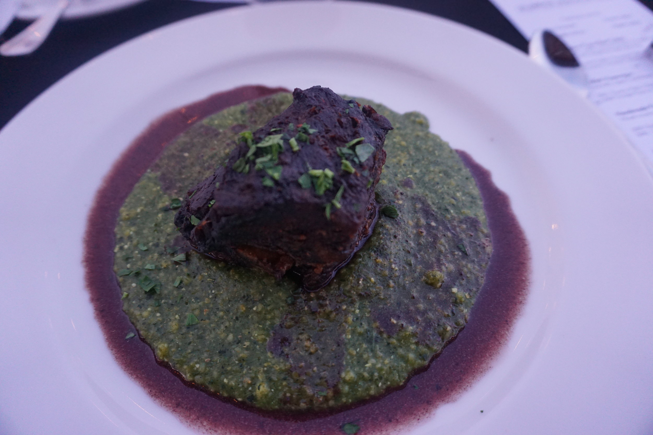 Meat lovers rejoiced at the beautiful display of the main course—merlot braised beef short ribs served atop green polenta—set before us at the Young Guns Wine Dinner in Walla Walla. Viki Eierdam