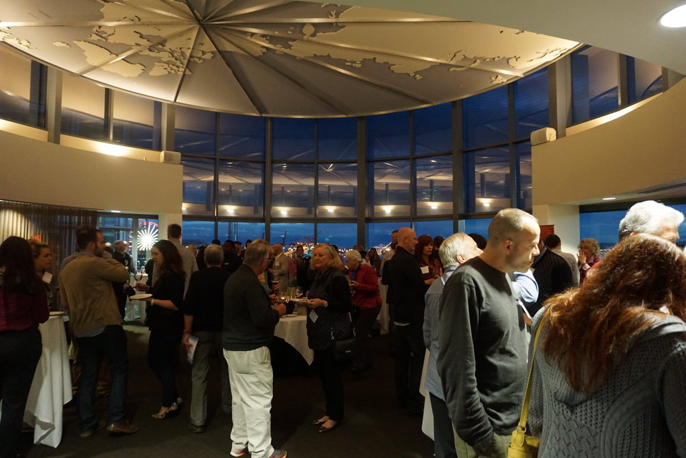 As the evening wore on, the 180-degree water view was accented with twinkling lights from waterside restaurants at November's Washington State AVA Seattle Urban Wineries tasting, held on the fourth floor of The World Trade Center Seattle. Viki Eierdam