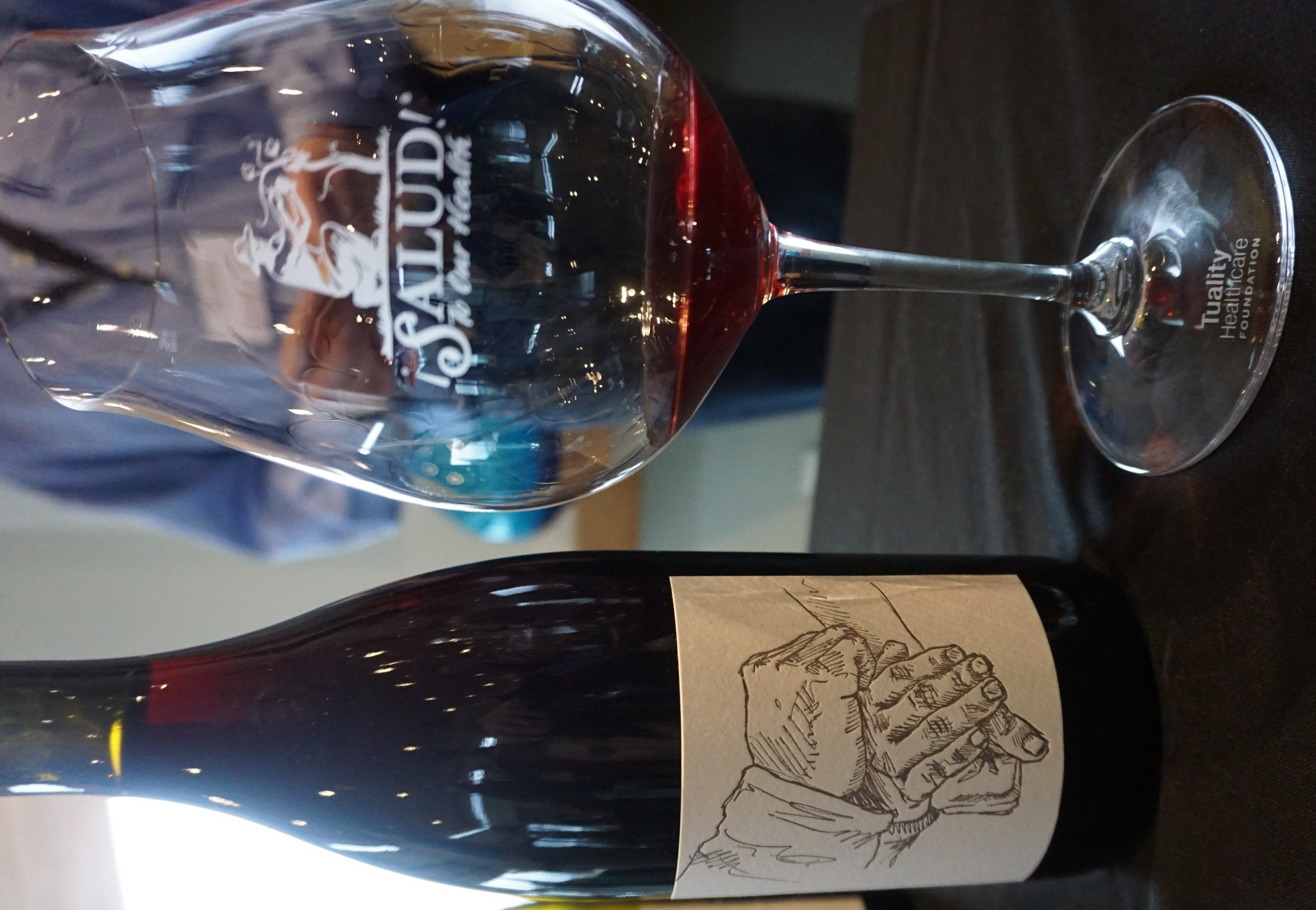 Winemakers like Brian Marcy of Big Table Farm poured exclusive cuvées during November's Oregon Pinot Noir Auction. This wine label, designed by Clare Carver, is a rendering of the vineyard worker who picked the grapes for their ¡Salud! cuvée. Viki Eierdam