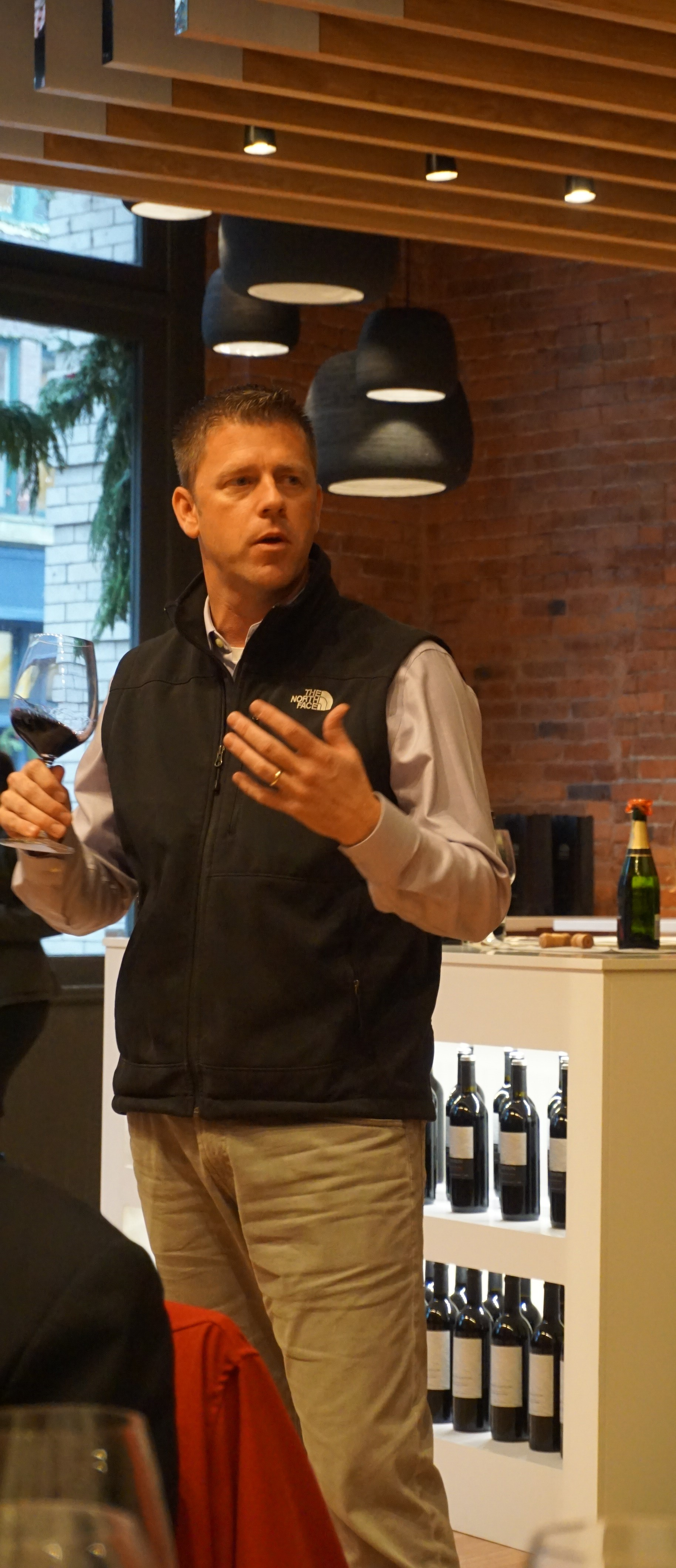 Vineyard manager, Will Beightol, explained the philosophy that goes into every bottle of Double Canyon at last weeks' media preview of The Estates Wine Room. Viki Eierdam