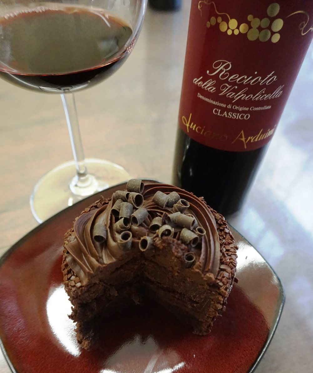 The chocolate ganache in the Double Chocolate Cake teamed up with a Recioto della Valpolicella was nothing short of velvety lusciousness. Dan Eierdam