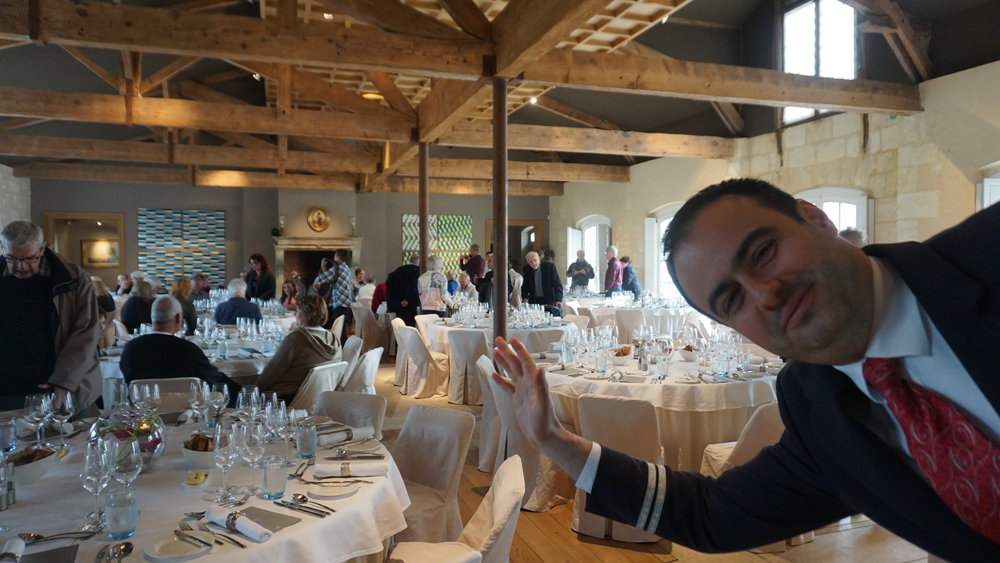 Off-site dinner at Château Kirwan with photo bomb courtesy of Viking Forseti's program director, Lorin Dragan. Viki Eierdam
