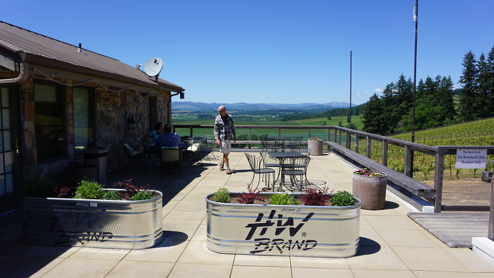 Reserved for Rootstock Club Members and special events, the rooftop patio at Lenné Estate affords a sweeping view of his vineyard. Dan Eierdam
